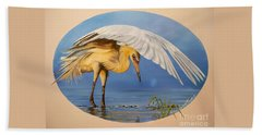 Chloe The  Flying Lamb Productions                  Egret Fishing Beach Towel