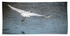 Egret Flight Plan Beach Towel by Ray Congrove