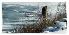 Egret Frozen Lake Beach Towel
