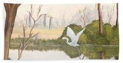 Egret In Flight 1 Beach Sheet