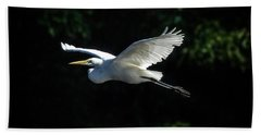 Egret In Flight Art Greenfield Lake Beach Sheet