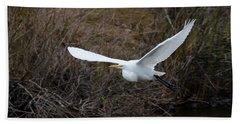 Egret In Flight Beach Towel by George Randy Bass