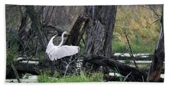 Egret In Flight Beach Towel