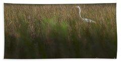 Egret In Swamp-1-0711 Beach Towel