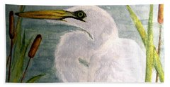 Egret In The Cattails Beach Towel by Carol Grimes