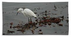 Egret On Seaweed Raft Beach Towel