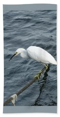 Egret On The Munch Beach Sheet by Margie Avellino