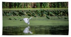 Egret Over Wetland Beach Towel