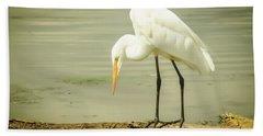 Egret Portrait Beach Sheet