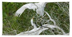 Beach Towel featuring the photograph Egret Rumble by George Randy Bass