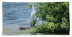 Great Egret In The Marsh Beach Towel