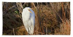 Beach Towel featuring the photograph Egret With Something To Say by George Randy Bass