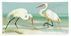 Egrets Crabbing Beach Towel
