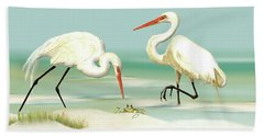Egrets Crabbing Beach Sheet