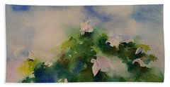 Egrets Impressionistic Watercolor Gift Beach Towel by Geeta Biswas
