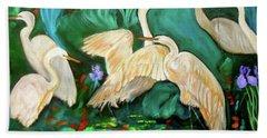 Egrets On Lotus Pond Beach Towel by Jenny Lee