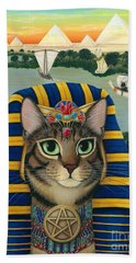 Egyptian Pharaoh Cat - King Of Pentacles Beach Towel