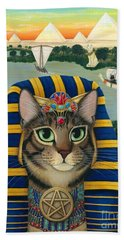 Beach Towel featuring the painting Egyptian Pharaoh Cat - King Of Pentacles by Carrie Hawks
