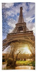 Eiffel Sunset Beach Sheet by Delphimages Photo Creations