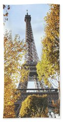 Beach Sheet featuring the photograph Eiffel Tower Amidst The Autumn Foliage by Ivy Ho