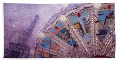 Beach Towel featuring the photograph Eiffel Tower And Carousel by Clare Bambers