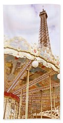 Beach Sheet featuring the photograph Eiffel Tower And Carousel by Ivy Ho
