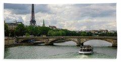 Eiffel Tower And The River Seine Beach Sheet
