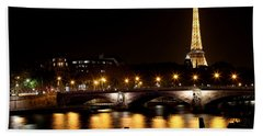 Beach Towel featuring the photograph Eiffel Tower At Night 1 by Andrew Fare