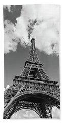 Eiffel Tower - Black And White Beach Towel by Melanie Alexandra Price