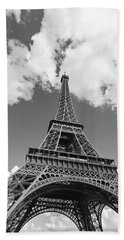 Eiffel Tower - Black And White Beach Sheet by Melanie Alexandra Price