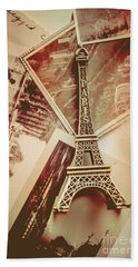 Eiffel Tower Old Romantic Stories In Ancient Paris Beach Sheet by Jorgo Photography - Wall Art Gallery