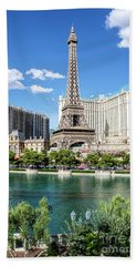 Eiffel Tower Paris Casino In Front Of The Bellagio Fountains Beach Towel by Aloha Art