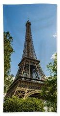 Eiffel Tower Through Trees Beach Sheet