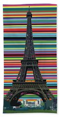 Beach Towel featuring the painting Eiffel Tower With Lines by Carla Bank