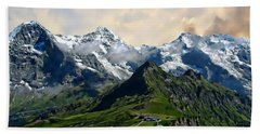 Eiger, Monch And Jungfrau Peaks Beach Sheet