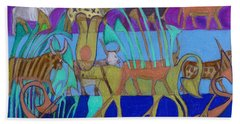 Beach Towel featuring the painting Eight Holy Cows by Denise Weaver Ross
