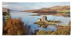 Eilean Donan Castle Panorama In Autumn Beach Towel
