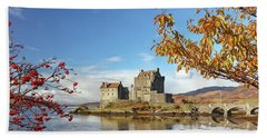 Beach Towel featuring the photograph Eilean Donan In Autumn by Grant Glendinning