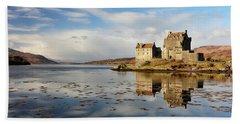 Eilean Donan - Loch Duich Reflection - Dornie Beach Sheet by Grant Glendinning