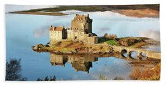 Beach Towel featuring the photograph Eilean Donan - Loch Duich Reflection - Skye And Lochalsh by Grant Glendinning