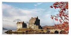 Beach Towel featuring the photograph Eilean Donan - Loch Duich Reflection - Skye by Grant Glendinning