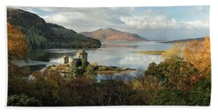 Beach Towel featuring the photograph Eilean Donan Panorama - Autumn by Grant Glendinning