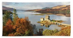 Beach Towel featuring the photograph Eilean Donan Reflection In Autumn by Grant Glendinning