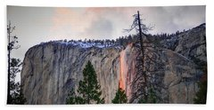 El Capitan Glowing Horsetail Falls Beach Towel