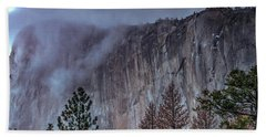 El Capitan Horsetail Falls Stormy Sunset Beach Towel