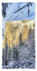 El Capitan Winter Majesty Yosemite National Park Beach Towel