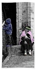 Beach Towel featuring the photograph Elderly Beggar In Biblian II by Al Bourassa