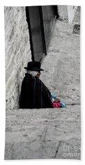Beach Towel featuring the photograph Elderly Beggar In Chordeleg by Al Bourassa