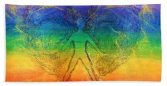 Beach Towel featuring the mixed media Electric Angel by Denise Fulmer