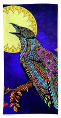 Beach Towel featuring the drawing Electric Crow by Tammy Wetzel